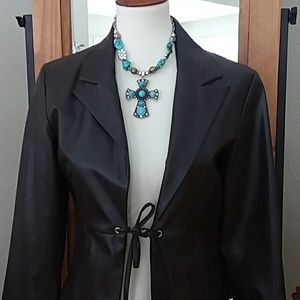 Brown Faux Leather Tie Jacket